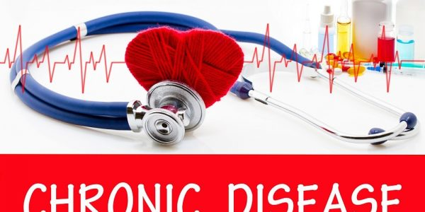 The diagnosis of chronic disease. Phonendoscope and vaccine with drugs. Medical concept.